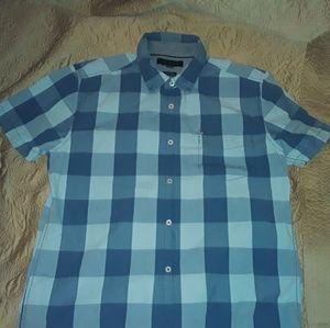 TOMMIE HILFIGER L blue&white plaid short sleeve